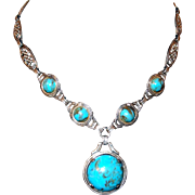 Elaborate Sterling Chain Marbled Turquoise Glass Drop Necklace
