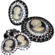 Three Piece Cameo Set: Ring, Brooch and Earrings