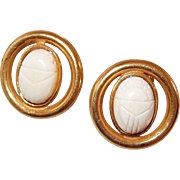 Miriam Haskell Cream Scarab Earrings in Russian Gold Plate Settings