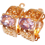 Amethyst Yellow Gold-filled Filigree Clip Earrings