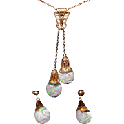 Solid 14kt Gold Double Floating Opal Necklace and Earrings