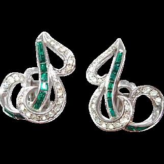 Boucher Emerald Baguette Earrings Match Brooch
