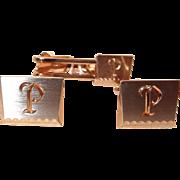 Hickok Initial P Cuff Link and Tie Clip Set in Original Box