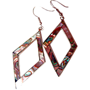 Mexican Alpaca and Abalone Hook Drop Earrings