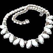 Smoke Crystal Milk Glass Teardrop Choker Style Necklace