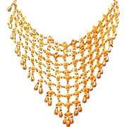 Gold-tone Brass Bib Necklace with Dangles