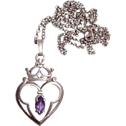 Art Nouveau Sterling Heart, Crown and Fluer-de-Lis Pendant with Amethyst Stone