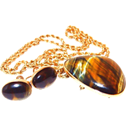 10k Gold Pendant/Pin and Rope Chain with Earrings made with Gorgeous Tiger Eye Set