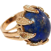 Natural Lapis Lazuli 14kt Yellow Gold Ring with Gold Nugget Leaf Motif Prongs