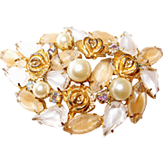 Weiss Rose Brooch with Neutral Cats-Eye Crystal Stones and Faux Pearls