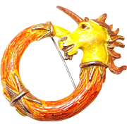 Enamel Unicorn Horse Pin in Orange and Yellow