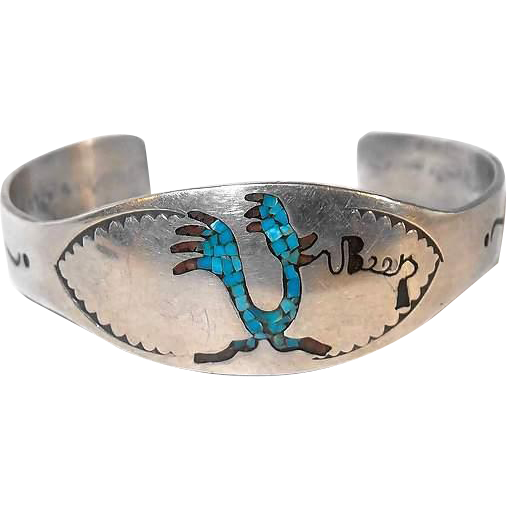 Silver Cuff Road Runner Bracelet Inlay Turquoise Coral Motif - BEEP