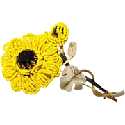 Vendome Black-Eyed-Susan Yellow Seed Bead Brooch