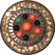Unique Bakelite Pin with Mosaic Style Multi-color Sampler Beads - Book Piece