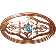 Rare Symmetalic Art Deco Blue Topaz Sterling and 14kt Gold Pin