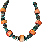 Peach Coral Beads and Chunk Turquoise Necklace