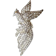 Large Paved Rhinestone Pot Metal Bird Brooch, Book Piece