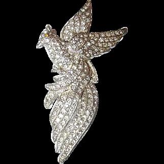 Large Paved Rhinestone Pot Metal Bird Brooch, Book Piece