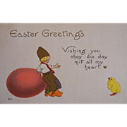 Dutch 1914 Postcard Dutch Boy Egg Chick Hearts