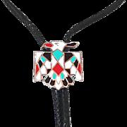 Vintage Enamel Zuni Thunder Bird Bolo Tie Necklace