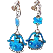 Rare Blue Enamel Sterling Danish Drop Earrings from Turn of Century