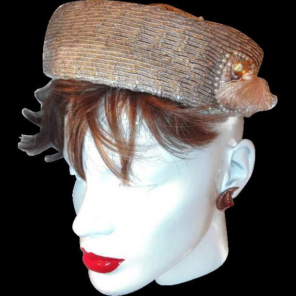 Vintage Designer Hat Side Tassel Faux Pearls From