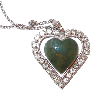 JADE and Rhinestone Heart Pendant Necklace