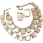 Coro Thermoset Parure Set of 3 Necklace Bracelet Earrings Pale Beige
