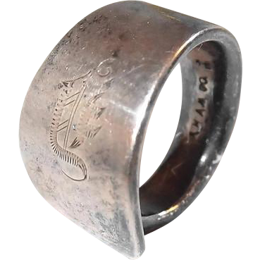Silver Spoon Ring Etched Monogram Marked