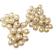 Long Vintage Designer Dangle Simulated Pearl Clip Earrings