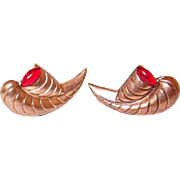 Copper Earrings Horn Motif Cornucopia Red Cabochons