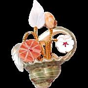 Unusual Flower Basket Pin from Sea Shells