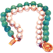 Green Peking and Pearl Glass Bracelet with Sterling Clasp