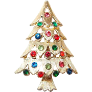 Colorful Christmas Tree Pin Peppered with Multicolor Rhinestones