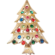 Multicolored Rhinestone Xmas Tree Pin