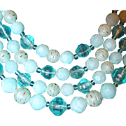 Beaded Aqua and Gold Four Strand Necklace