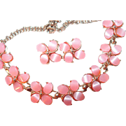 Pink Floral Thermoset Plastic Necklace Earring Set