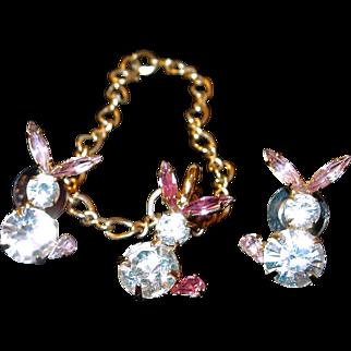 Bauer Rhinestone Bunny Rabbit Bracelet Post Earring Set