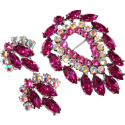 Large Weiss Fuchsia Rhinestone Brooch Earring Set