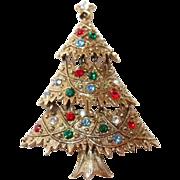 Eisenberg Ice Three Tiered Christmas Tree Pin with Rhinestones
