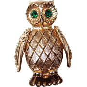 Figural Goldtone Textured Owl Pin with Green Rhinestone Eyes