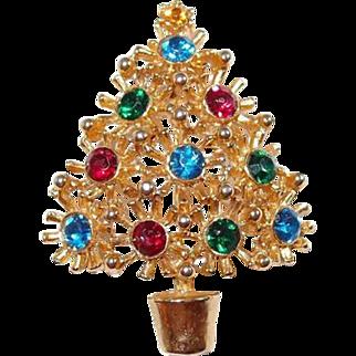 Spiked Christmas Tree Pin Multi-Colored Rhinestones