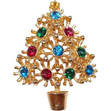 Spiked Christmas Tree Pin Multi-Colored Rhinestones