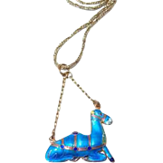 Sterling Blue Enamel Chinese Camel Charm Necklace