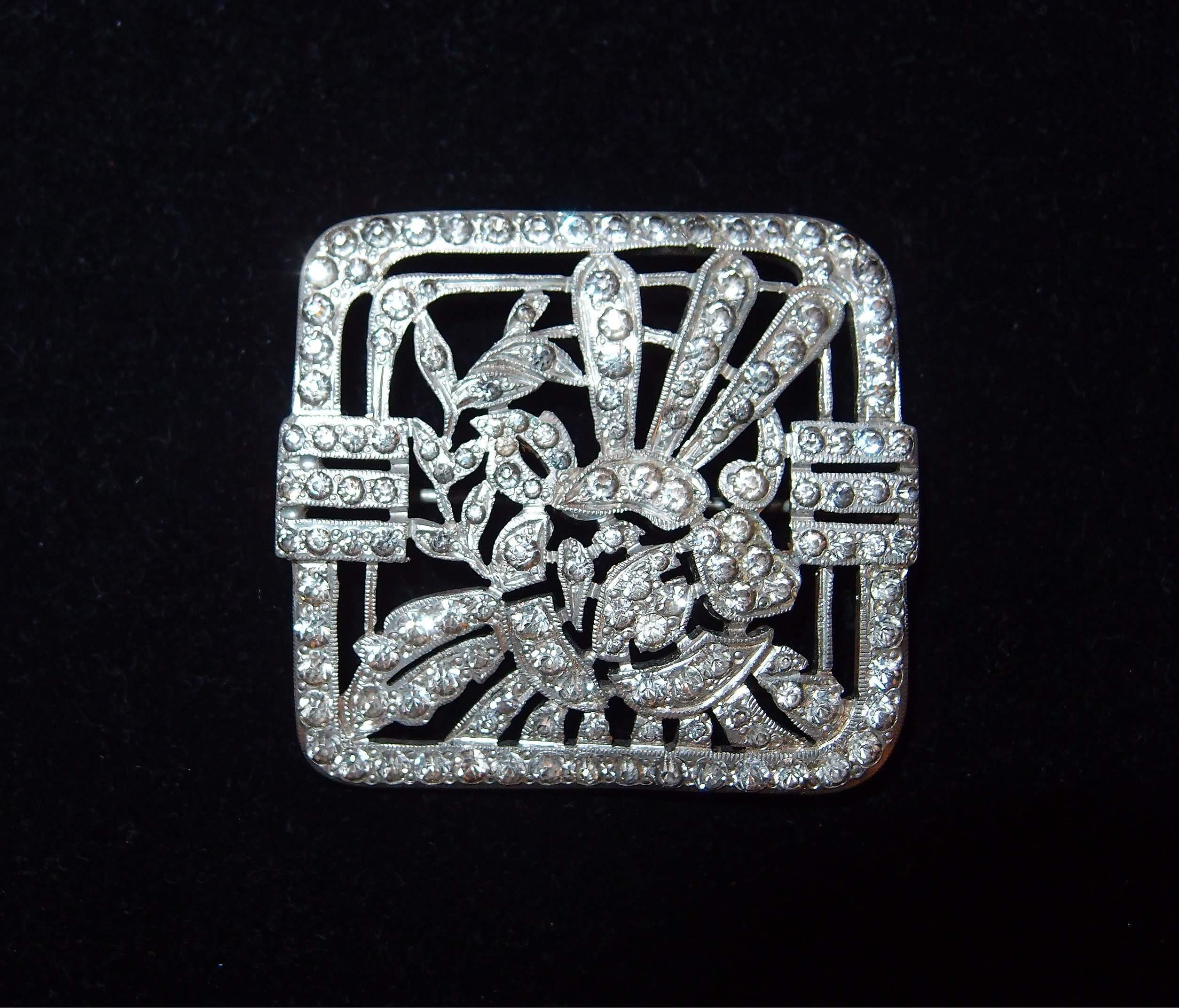 strong art deco motif paved square brooch from. Black Bedroom Furniture Sets. Home Design Ideas