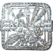Strong Art Deco Motif Paved Square Brooch