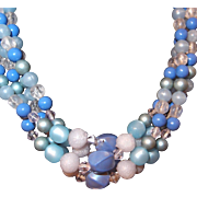 Multi-strand Early Plastic Blue Beaded Necklace