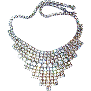 Huge Rhinestone Bridal or Prom Bib Necklace with 12 Rows of Stones