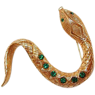 Slithering Snake Pin with Textured Skin and Green Rhinestone Spots