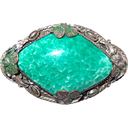 Imported Silver Plate Detailed Pin with Peking Glass Center